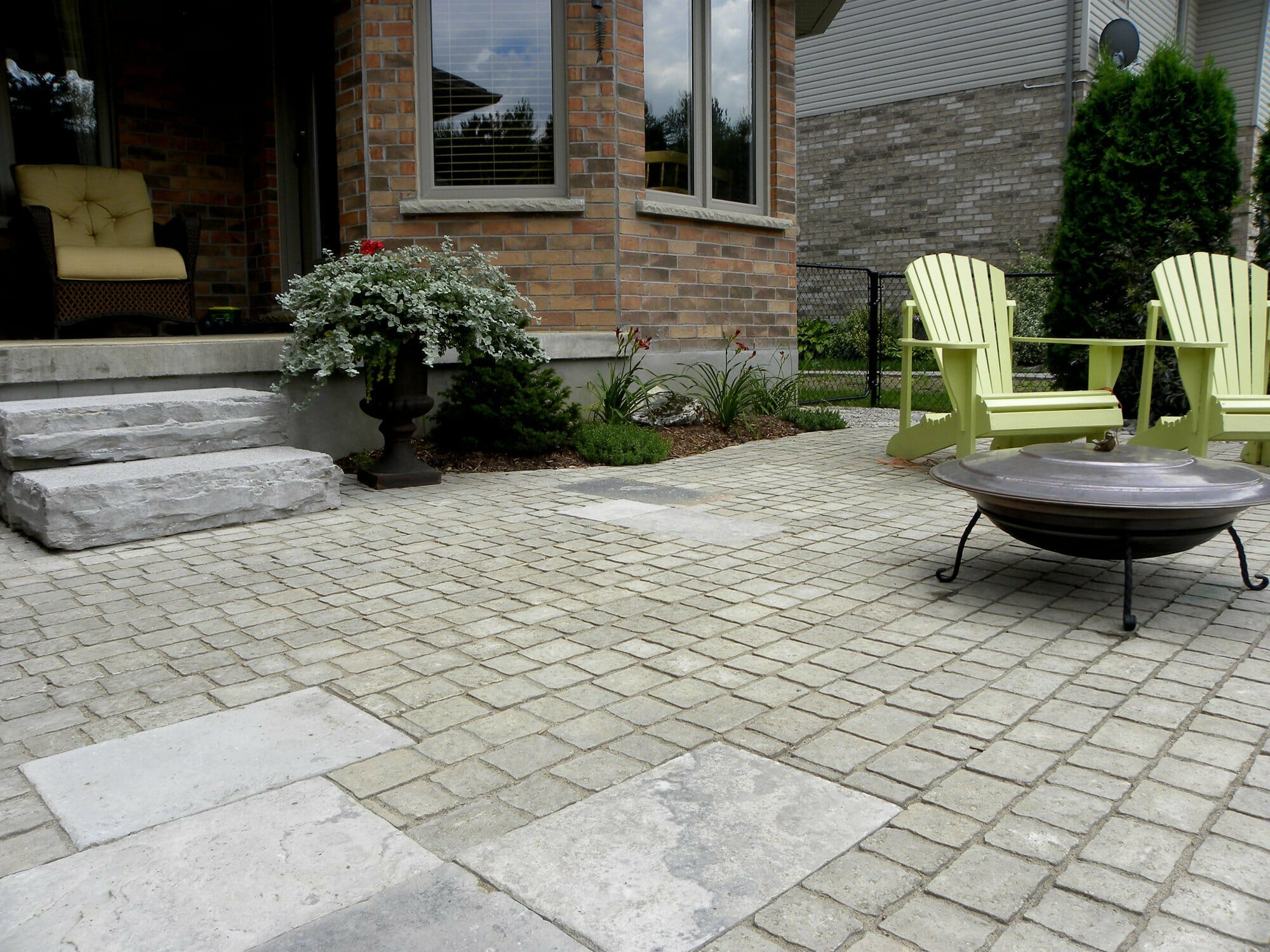Interlock Patio with Stone Steps - London, Ontario Landscaping & Custom Landscape Design