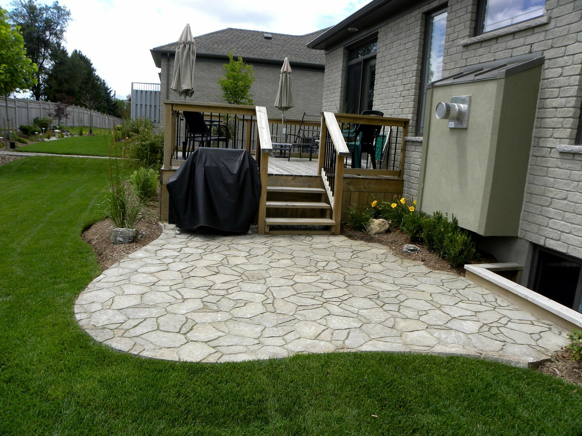 Backyard Interlock Patio Installation - London, Ontario Landscaping & Custom Landscape Design