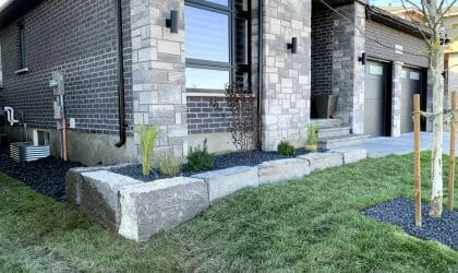 Landscaping London, Ontario - After Armour Stone Wall Front Yard - Landscape Design - Mike Wilkins Website 2