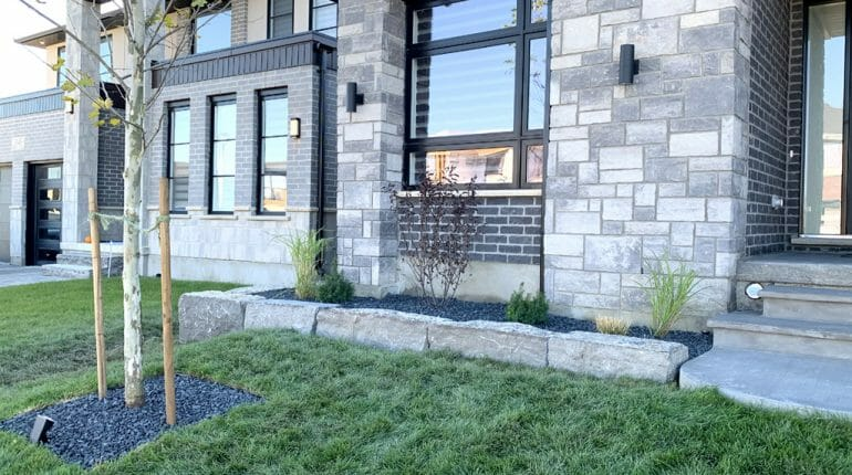Landscaping London, Ontario - After Armour Stone Wall Front Yard - Landscape Design - Mike Wilkins Website